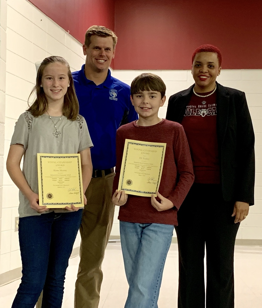 Memorial Drive Recognizes Young Citizenship Award Winners
