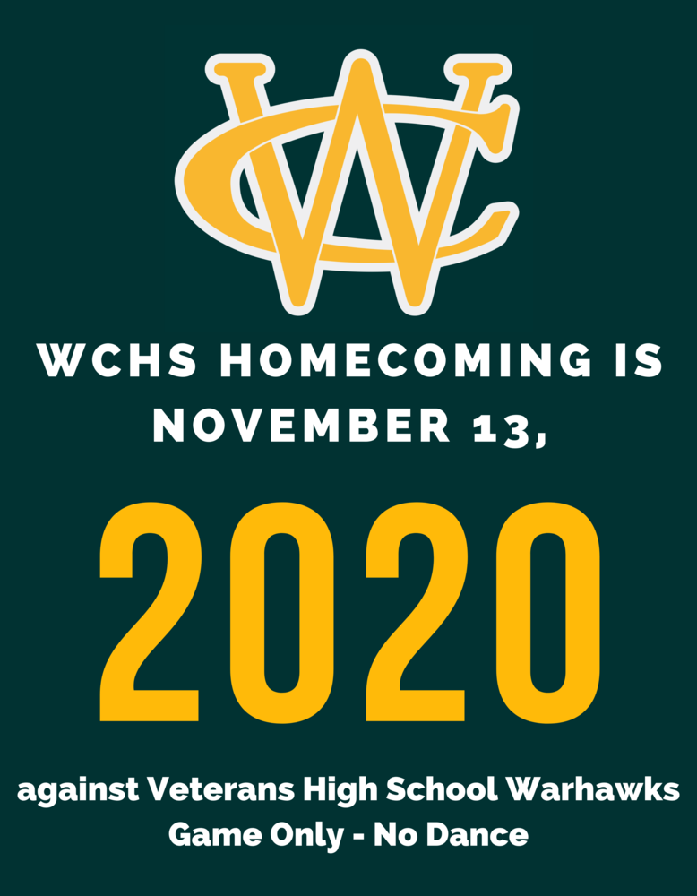 WCHS Announces 2020 High School Football Homecoming Game