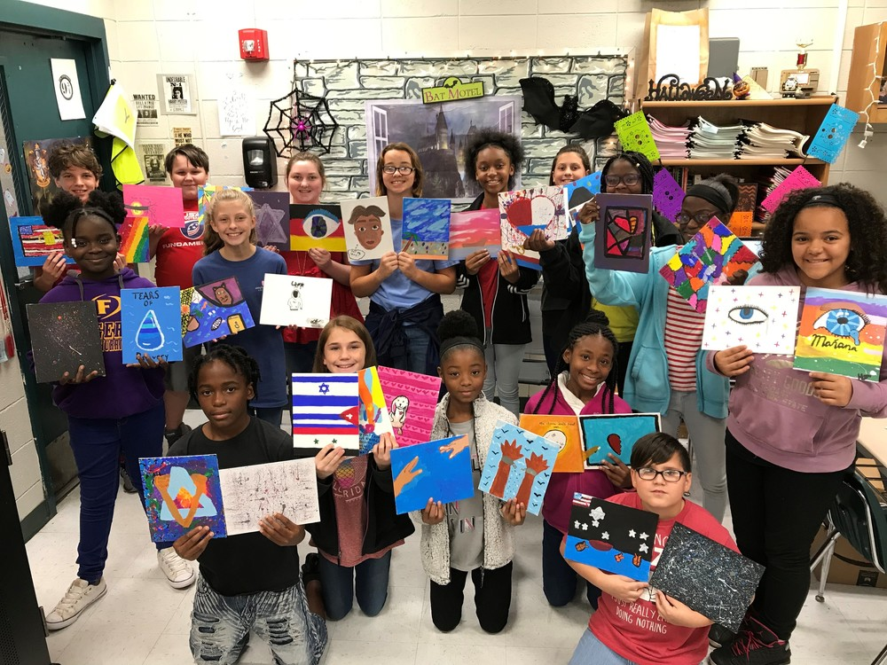 Waycross Middle School 6th Graders Provide Masterpieces for Art with Heart Refugee Auction