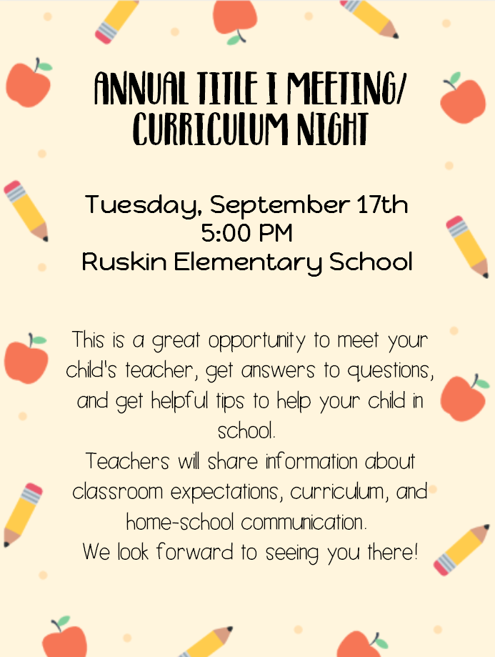 Annual Title I Meeting/Curriculum Night