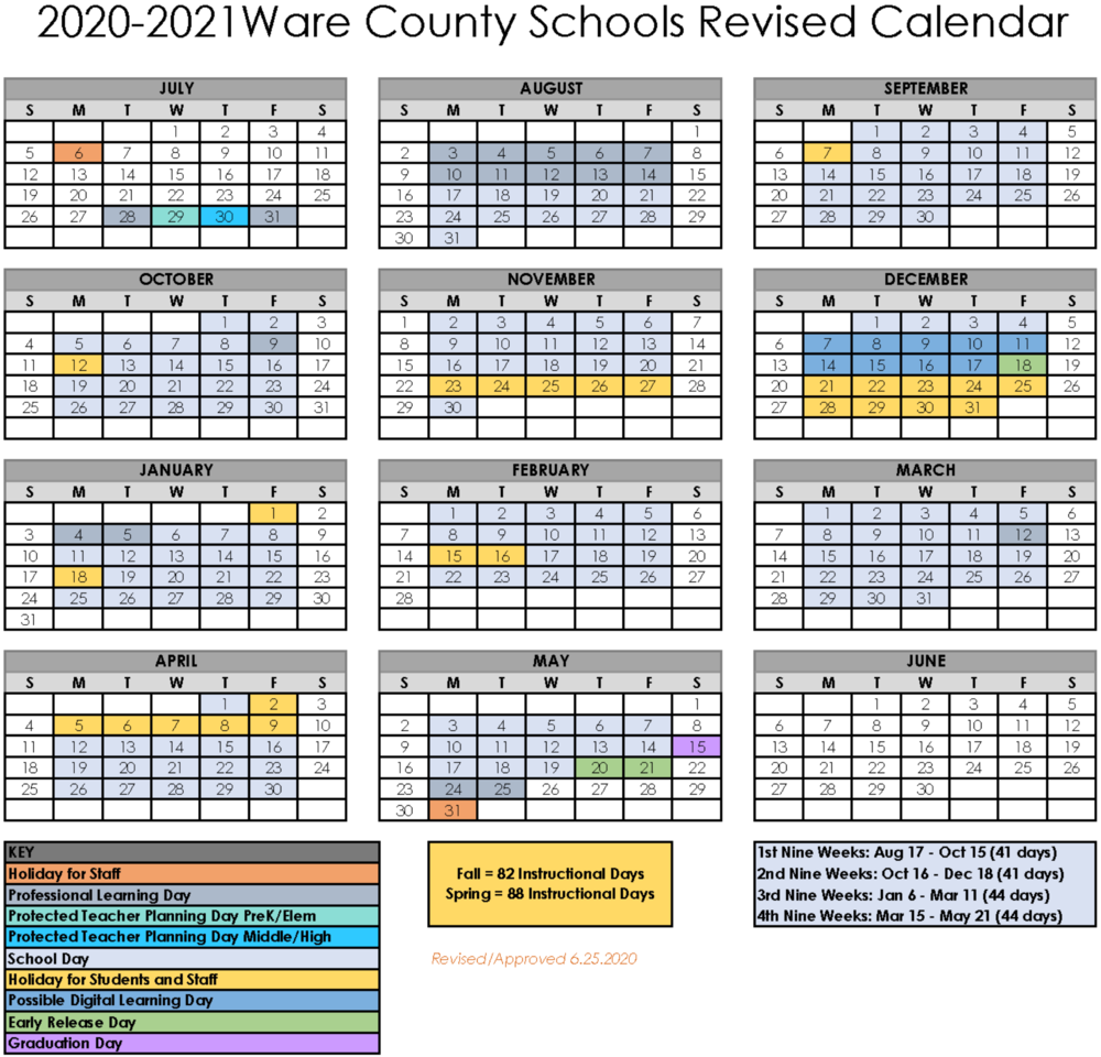 BOE Approves Revised 2020-2021 School Calendar