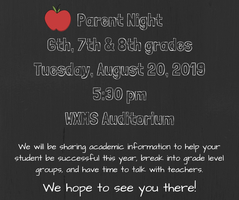 Parent Night: August 20th