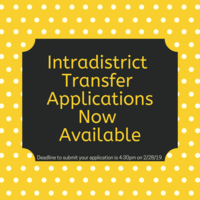 Intradistrict Transfer Applications Now Available
