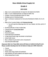2019-20 Supply list--6th grade