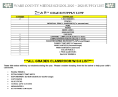 7th and 8th grade Supply List