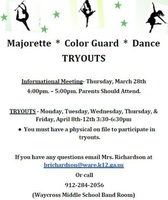 Majorette, Color Guard, and Dance Tryouts