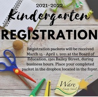 2021-2022 Kindergarten Registration is March 15-April 1