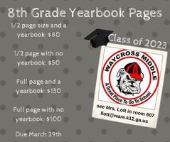 8th Grade Yearbook Pages Due