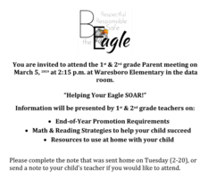 1st & 2nd Grade Parent Meeting
