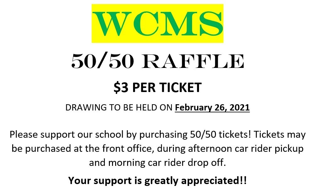 50/50 Raffle Ticket Announcement