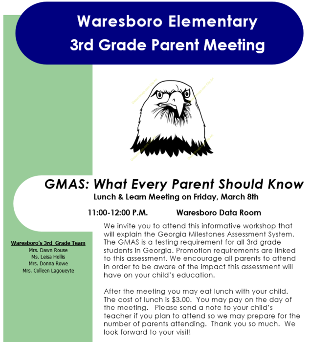 3rd Grade Lunch and Learn Flyer