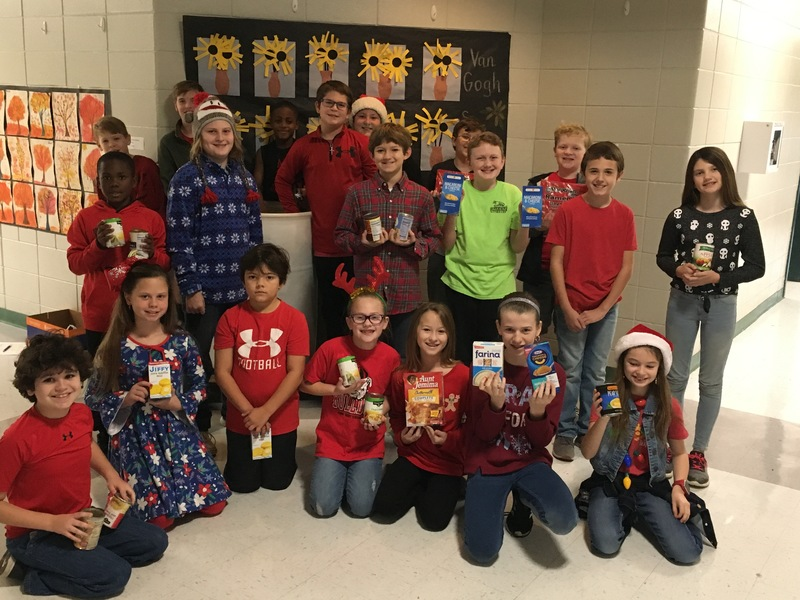 Williams Heights students display food items